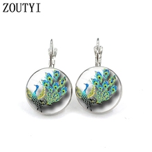 New/Hot Sale, Peacock Style Earrings, Womens Jewelry Round Crystal Dome Earrings. wholesale