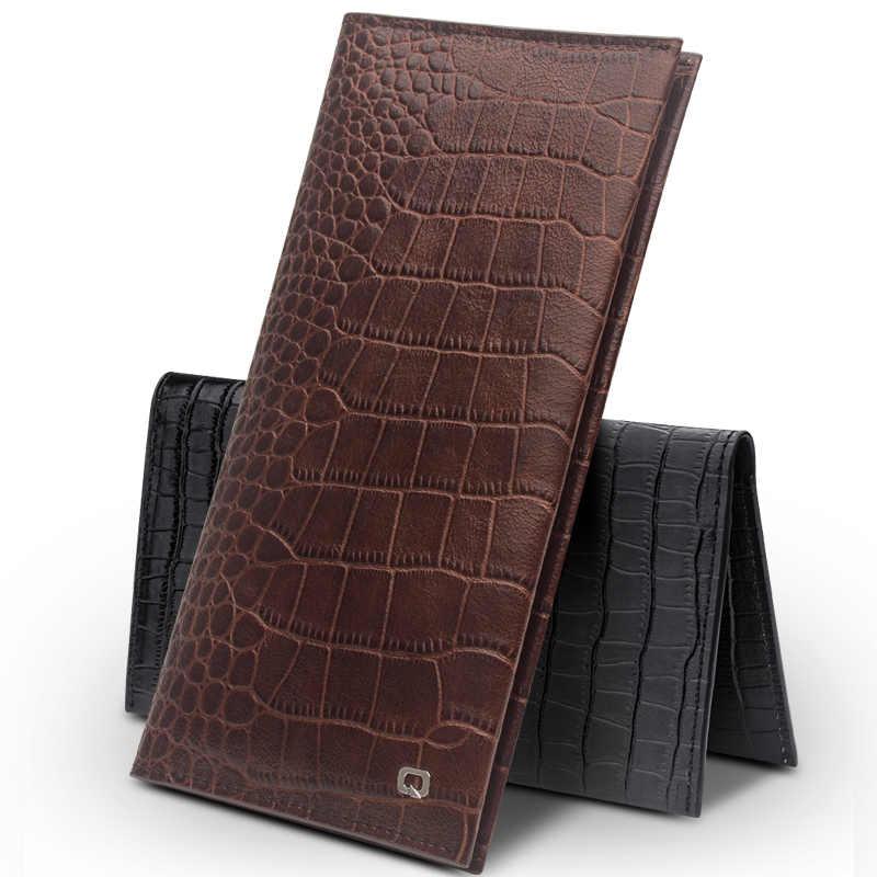 Luxo bolsa em Couro Genuíno Ultrafinos Caso Bolso para iPhone 7 8 Além de 7 Bussiness Carteira Slots de Cartão de Tampa Shell para o iphone 8 Plus