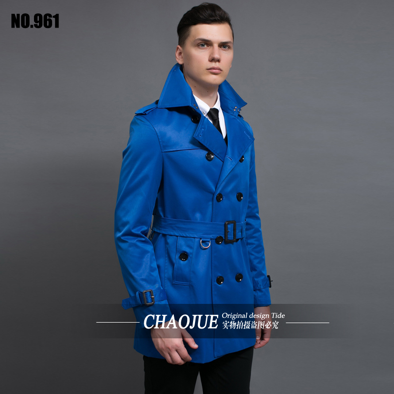 CHAOJUE double breasted coat mens fitted spring khaki trenchcoat ...