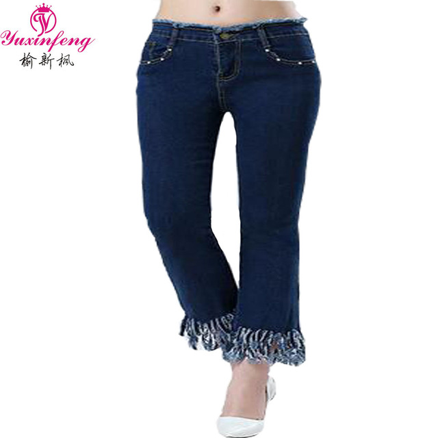 2016 Summe Women Jeans Fashion Plus size nine Fringed Tassel Flare Jeans Woman Pockets Denim Capris 5XL 6XL