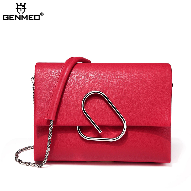 New Arrival Genuine Leather Handbag Women Cow Leather Chain Shoulder Bag Sexy Ladies Real Leather Messenger Bag Female Tote Bags women shoulder bag cossbody handbag genuine first layer of cow leather 2017 korean diamond lattice chain women messenger bag