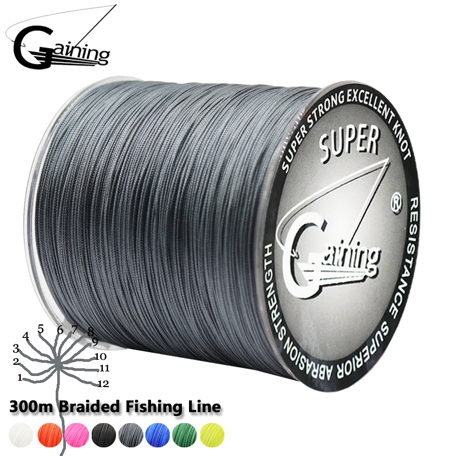 Gaining Fishing line 12 Strand 300m 35 180LB Moss Grey Multifilament Smooth PE Braided Fishing Line Freshwater/Saltwater Fishing-in Fishing Lines from Sports & Entertainment