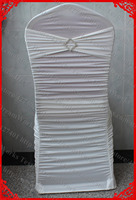 Ivory Ruffled Lycra Spandex Chair Covers With Band Sash And Rhombic Diamond Buckle Pin For Wedding
