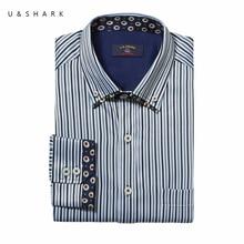 Slim Fit Korean Fashion Schwarz Streifen Sozialen Shirt Männer Langarm Chemise Homme U & Shark Qualität Camisa Marke Casual männliches Hemd