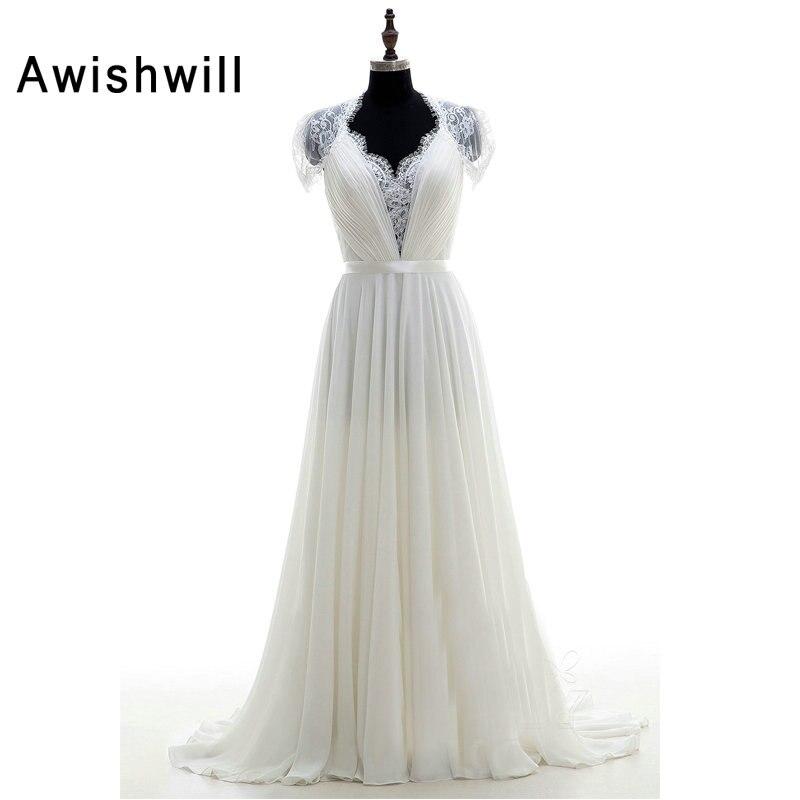 Новый дизайн Vestido de Noiva индивидуальный заказ с рукавами крылышками драпированные кружевные аппликации ТРАПЕЦИЕВИДНОЕ романтическое свадеб
