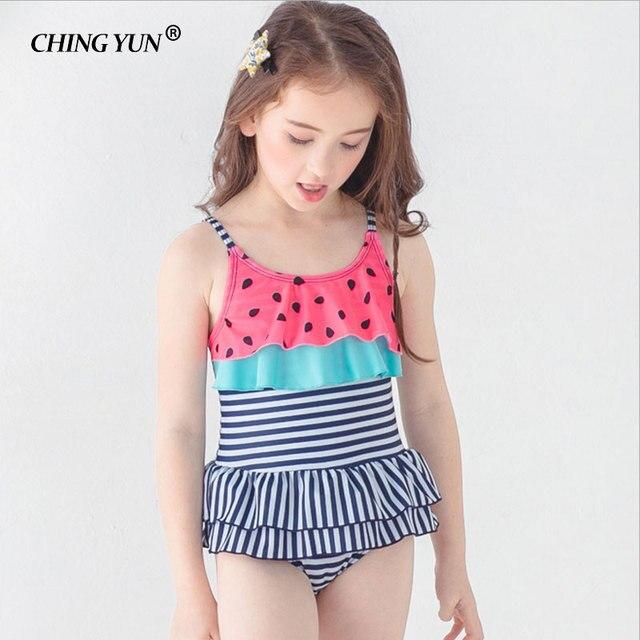 afad2c692f2e8 New Children swimwear cute girls Ruffled One-piece dress style Watermelon  color swimsuit Stripes Princess Bathing Suit beachwear