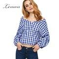 Lemon casual xadrez blusa verão das mulheres fora do ombro barra pescoço babados camisa casual gingham colheita blusas femininas
