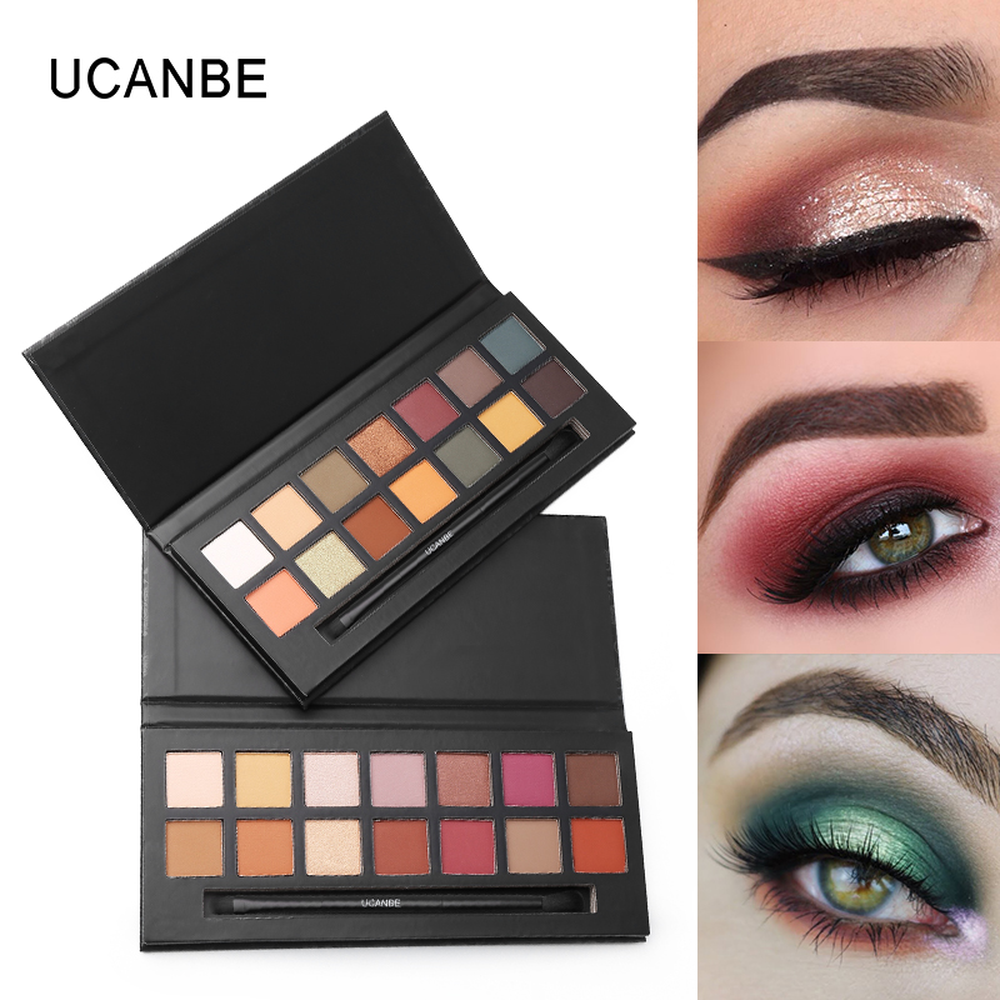 UCANBE Professional Eyeshadow Makeup Palette Waterproof Pigment Nude Matte Shimmer Eye Shadow with Brush Beauty Makeup Cosmetics in Eye Shadow from Beauty Health