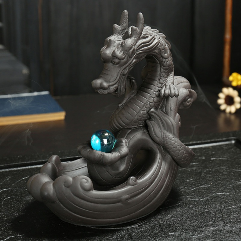 Classic Handmade Chinese Style Lucky Dragon Play Pearl Theme Backflow Incense Burner Home Office Tea Table Decoration Censer in Incense Incense Burners from Home Garden
