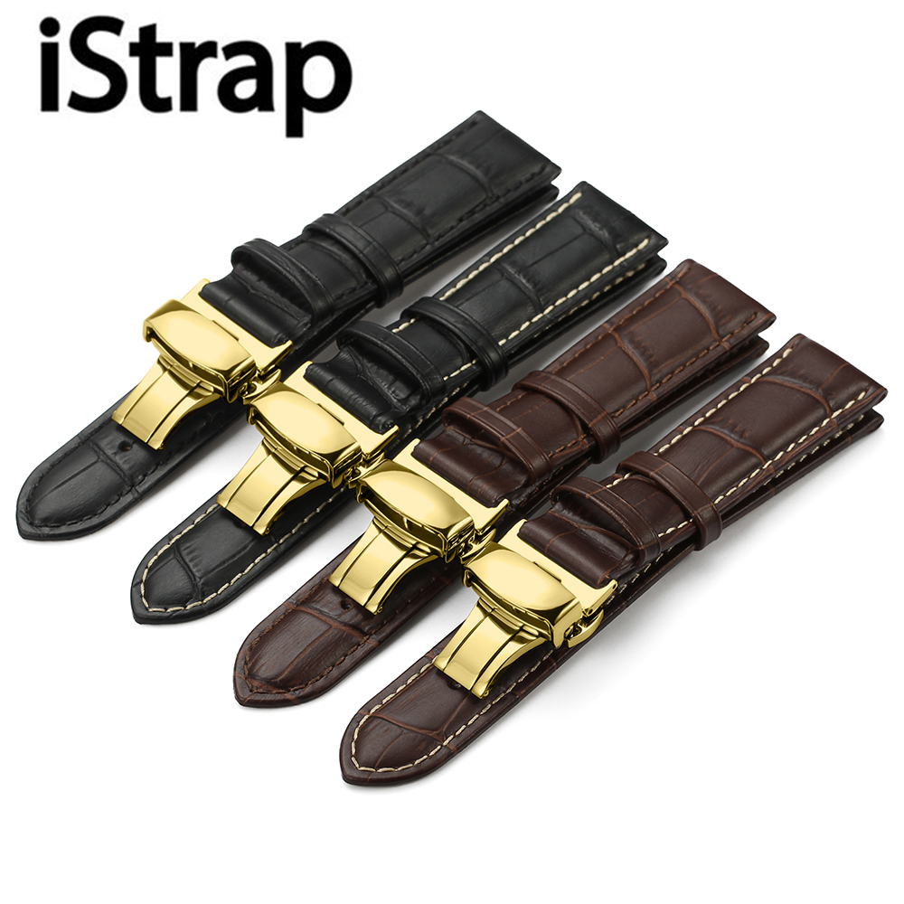iStrap Watchband 12 13 14 15 16 18 19 20 21 22 24mm Black Brown Calf Leather Strap Watch Band Butterfly Clasp Belt For Tissot istrap 22mm handmade genuine calf leather padded replacement watch band for men black 22