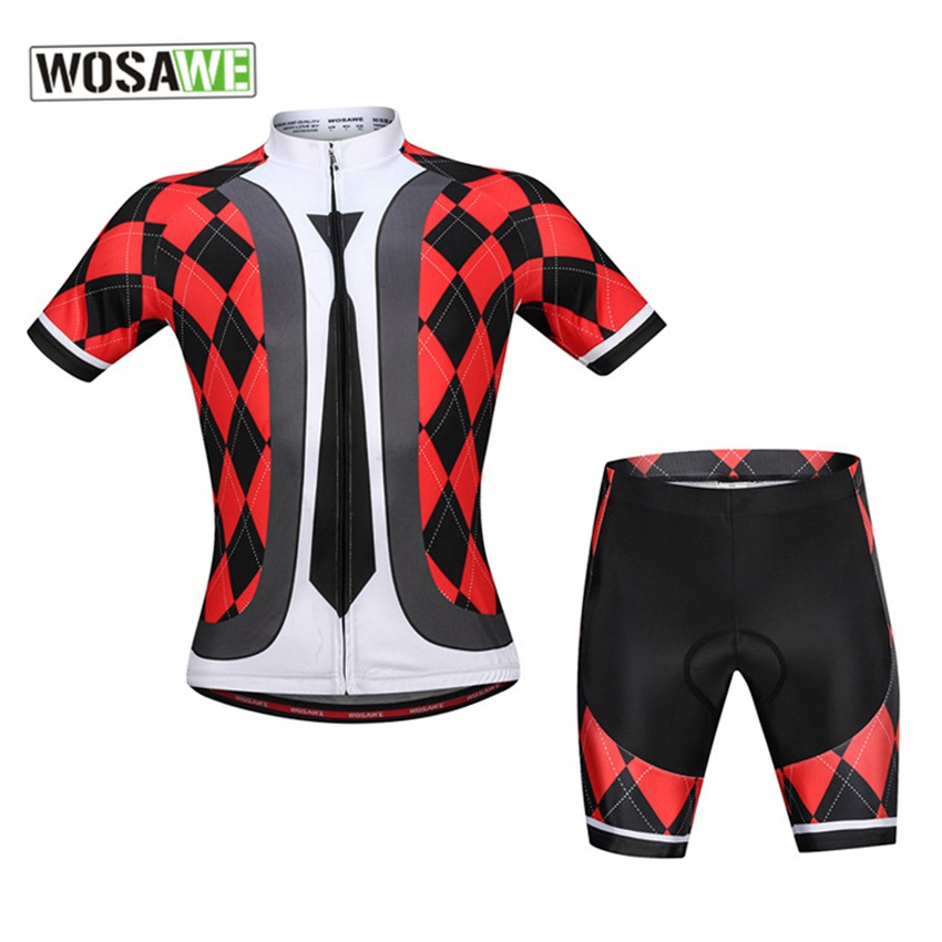 WOSAWE Mountain Bicycle Clothes Wear Maillot Ropa Ciclismo Cycling Jersey and Shorts Set Gentle Tie Lattic MTB Shirt for Men woman badminton shirt sportswear jersey shorts set female table tennis sports jersey shirts and shorts for woman and girls