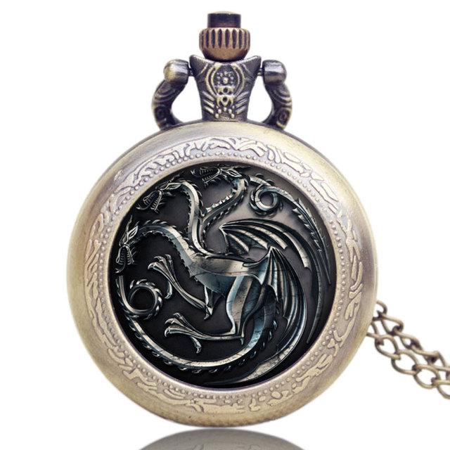 Game of Thrones Retro Fire Family Crest Analog Pocket Watch Jewelry