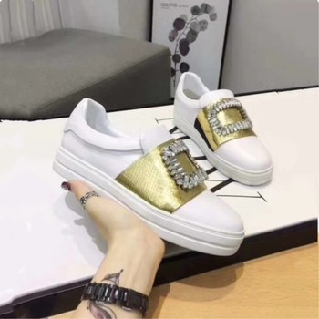 Spring and autumn high quality luxury crystal ladies casual shoes fashion silk buckle decorative round head open toe sneakers se