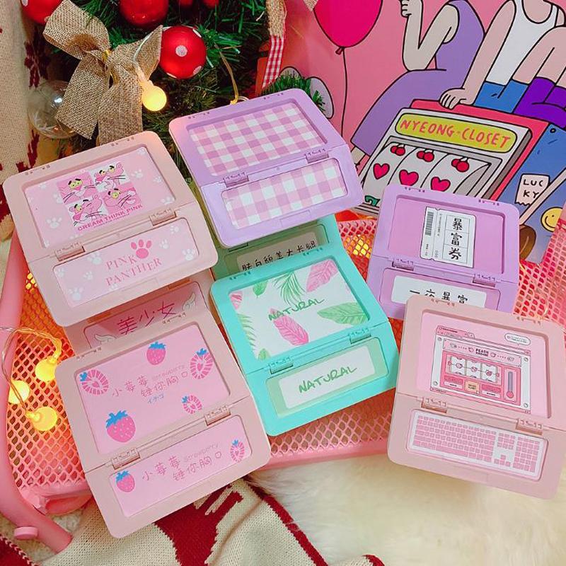 1 Pcs Kawaii Pink Panther Leaves Keyboard Wings Star Square Desk Organizer Storage Box Jewelry Plastic Case Stationery Holders