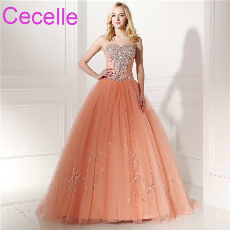 Light Orange Ball Gown Prom Dresses 2018 Sweetheart Beaded Corset ...