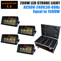 Heavy Duty Flight Case Recessed handle and latches Wheels Packing Stage 200W Led Strobe Light 4 High Power 50W COB Cool White