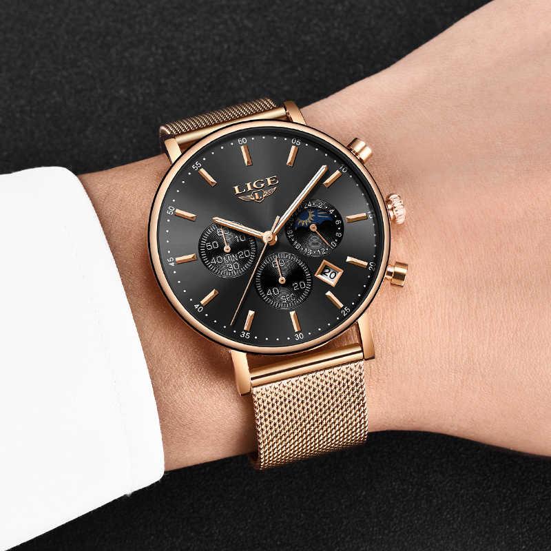 2019 Yeni Kadın hediyelik saat LIGE Moda Marka Kuvars Saatler Bayanlar Lüks Gül Altın Izle Kadın Izle Kadınlar Relogio Feminino