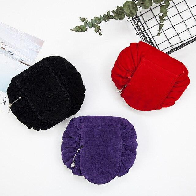 Round New Plush Makeup Case Magic Drawstring Cosmetic Bag Female Travel Make Up Bag Organizer Storage Pouch Toiletry Wash Kit 3