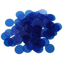 LGFM-Approx.100Pcs 3/4 дюймовые пластиковые фишки бинго, полупрозрачный дизайн, для классных и карнавальных игр бинго синий