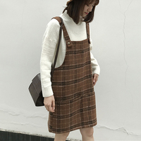 Good Quality Winter Woolen Plaid Dress Women Short Thick Overalls Female Preppy Style Sleeveless Wool Tank Dress Above Knee