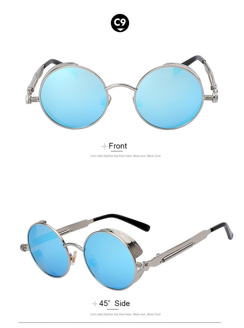 Round Retro Steampunk Metal Sunglasses - C9