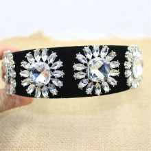 Exaggerated Fashion Vintage European Wide Black Velet Hairband Rhinestone Big Crystal Flower Headbands Brides Hair Accessories