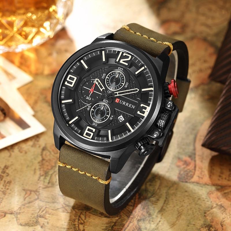 Image 4 - CURREN Sports Analog Army Military Men Watches Calendar Casual Quartz Clock Wristwatch Relogio Masculino Horloges Mannens SaatQuartz Watches   -