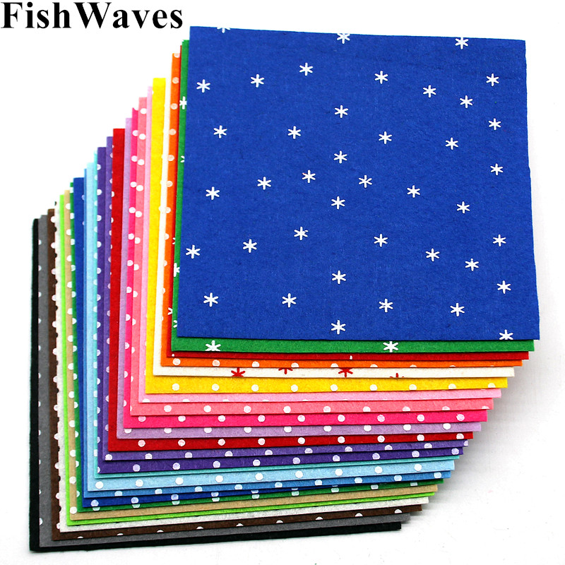 24pcs 1mm Felt Mix Colors Patterned Dot Felt Nonwoven Polyester Cloth Felts Fabric Handmade DIY Needle Sewing Crafts 15*15cm