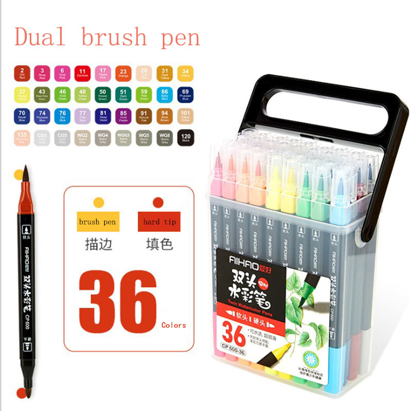 Art Markers Pen Colorful Brush Pens 12/18/24/36 Colors/Box Double Heads Stationary For Copic School Art Supplies