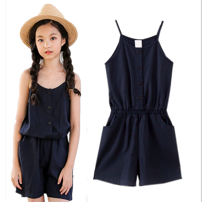6 to 16 years 2018 summer kids & teenager girls cotton linen casual one piece jumpsuits children summer overall pants clothes european and american fashion elegant chiffon jumpsuits piece pants 2018 summer rompers office lady womens jumpsuit