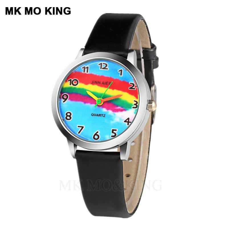 Lüks marka gökkuşağı karikatür sevimli disne kittyed çocuk erkek kız çocuklar dijital kuvars kol saati saat hediyeler bilezik mk dw