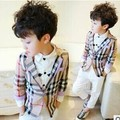 Free shipping 2016 New Spring Fashion Boys Clothes Plaid Full Children Kids Boys Blazer Coats Outerwear A412