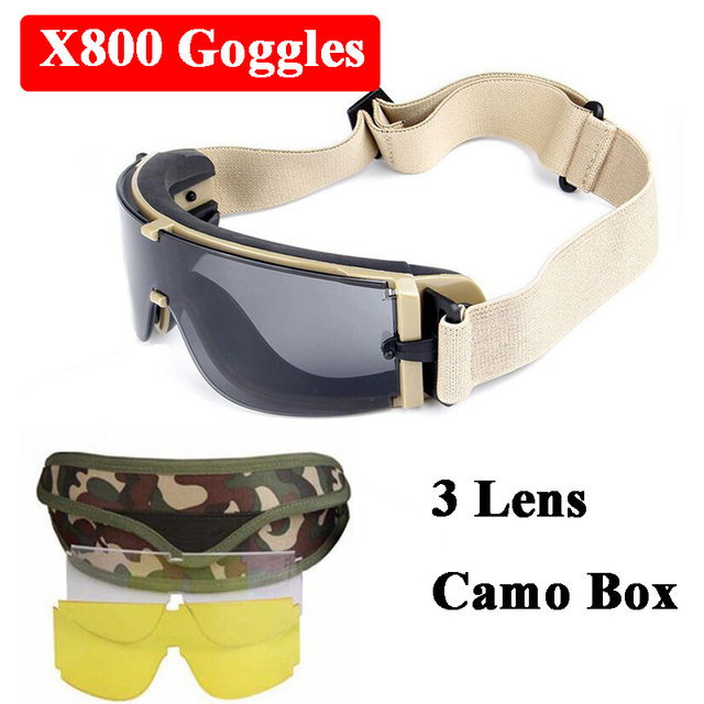 656f2e39c56 Military Airsoft Sport X800 Tactical Goggles USMC UV400 Sunglasses Army  Paintball Goggles Hunting Shooting Glasses 3 Lens