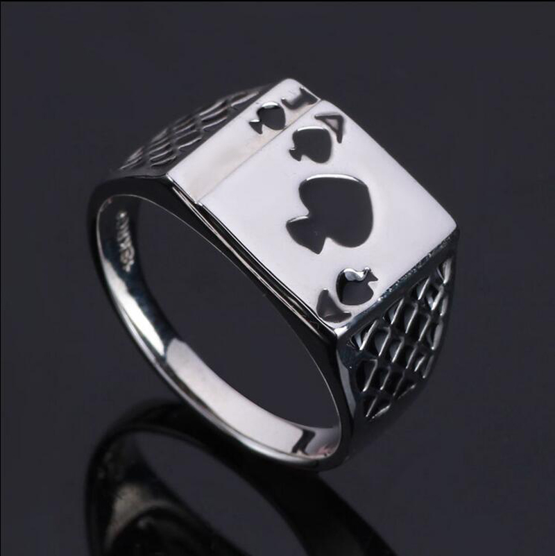 Chunky Alloy Black Enamel Spades Poker Ring Men A J fashion personality play card Rings Vintage Cool Mens Jewelry Rings