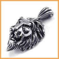 Free Shipping Fashion Jewelry 316L Stainless Steel Titanium Steel Silver The Lion King Head Pendant Necklaces