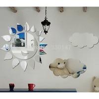 75x46 cm Grande Adesivo 3D Decalque Reflexivo Dia Ensolarado Sorriso Sun Cloud Mural Art Adesivo de Parede de Espelho Para Decoração do Quarto dos miúdos