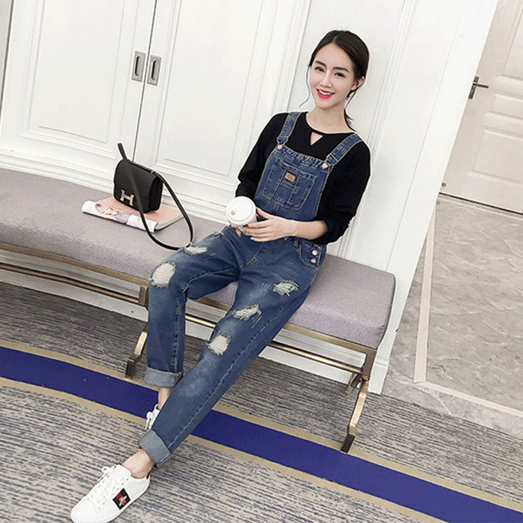 New Maternity Clothing Pants Spring Autumn Fashion hole jeans Plus Size Overalls Pregnant Women`s Large Size Suspender Trousers 2017 new women s denim bib pants spring and autumn overalls skinny fit plus size one piece jumpsuits trousers