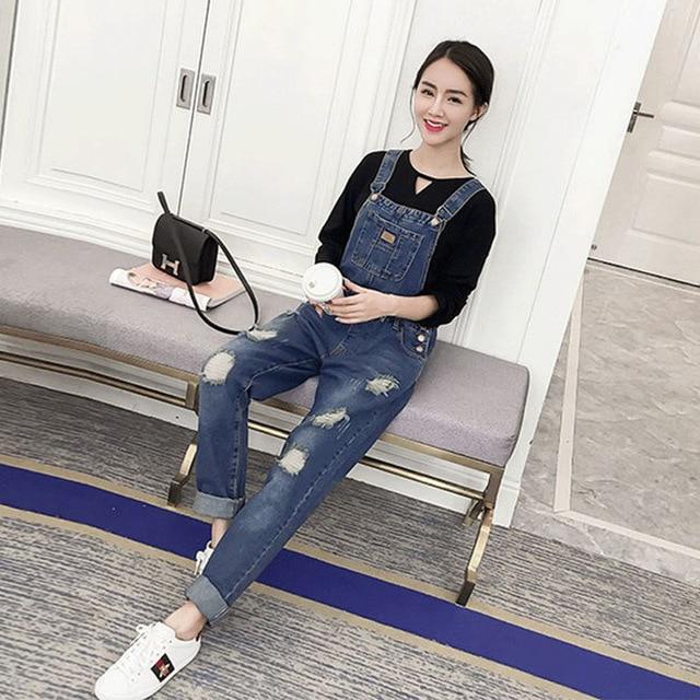 b8db43759 Nueva Maternidad ropa Pantalones primavera moda Otoño agujero jeans más tamaño  Monos mujeres embarazadas de gran
