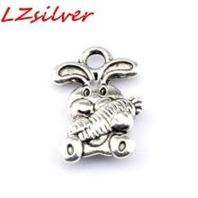Hot ! 15pcs Antique Silver Alloy Cute Rabbit Charm Pendant DIY Jewelry 10x 15mm  nm365