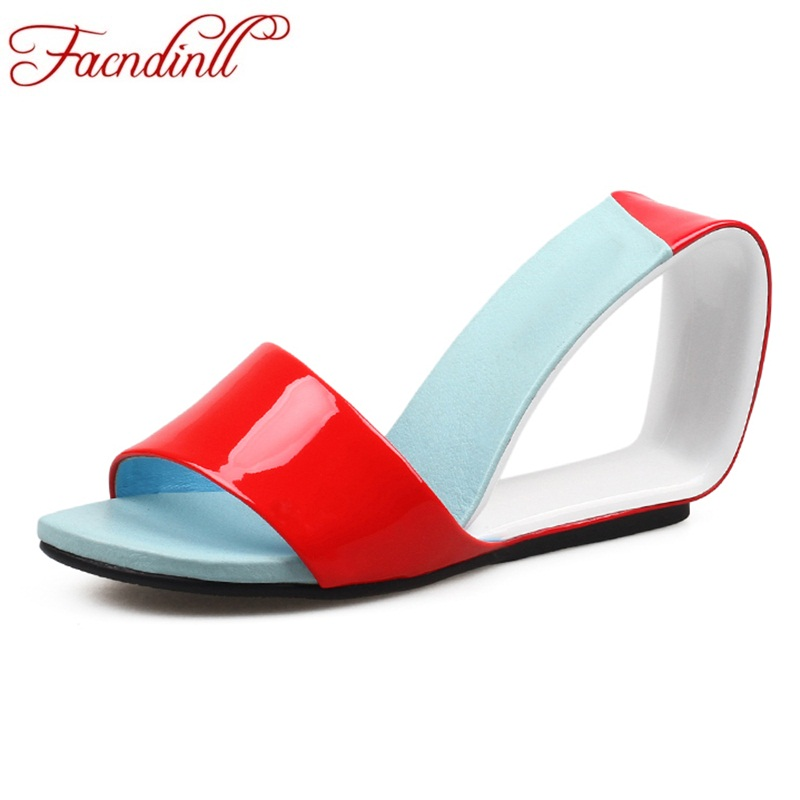 купить FACNDINLL women shoes new 2019 fashion genuine leather summer sandals sexy high heels open toe woman dress party casual sandals по цене 5321.9 рублей