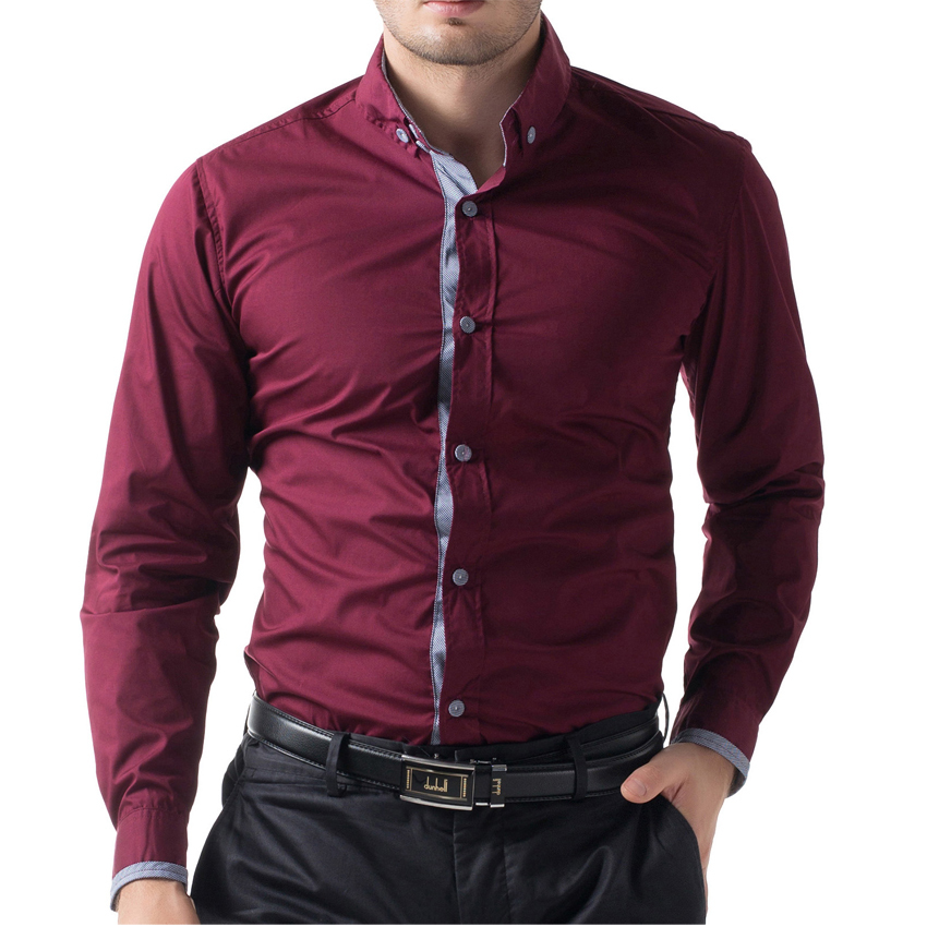 Famous Brand British Style Slim Fit Stylish Male Shirt Top Quality Long  Sleeve Business Casual Mens Shirts Men s Clothing Shirt-in Casual Shirts  from Men s ... 1bfa5eaead2