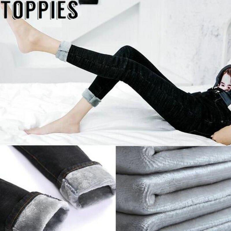 2019 Winter Women Warm Fleece Jeans High Waist Denim Thicken Trousers Slim Elastic Black Jeans Winter Pants