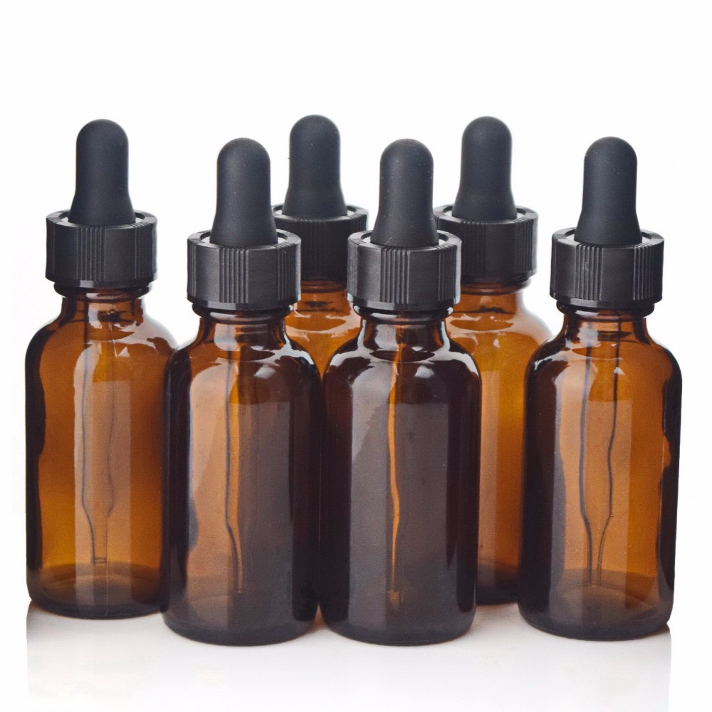 6pcs Empty 30ml Amber Glass Dropper Bottles With Glass Eye Dropper Pipette For Essential Oils Aromatherapy Lab Chemicals 1oz