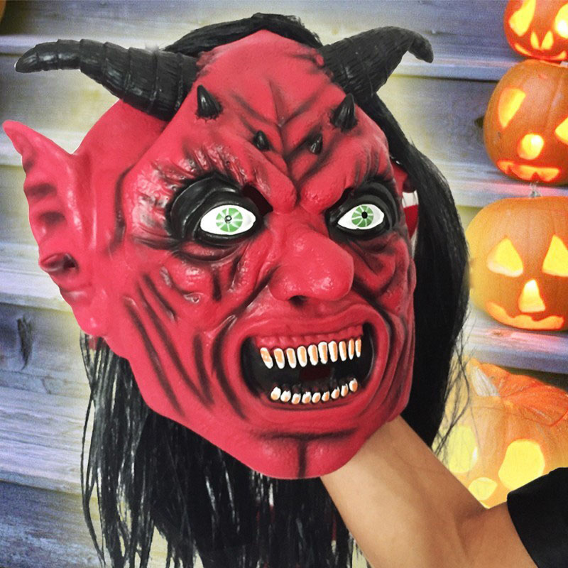 horror mask devil inferno satan novelty red face adult size latex devil masks for halloween gift - Halloween Novelties Wholesale