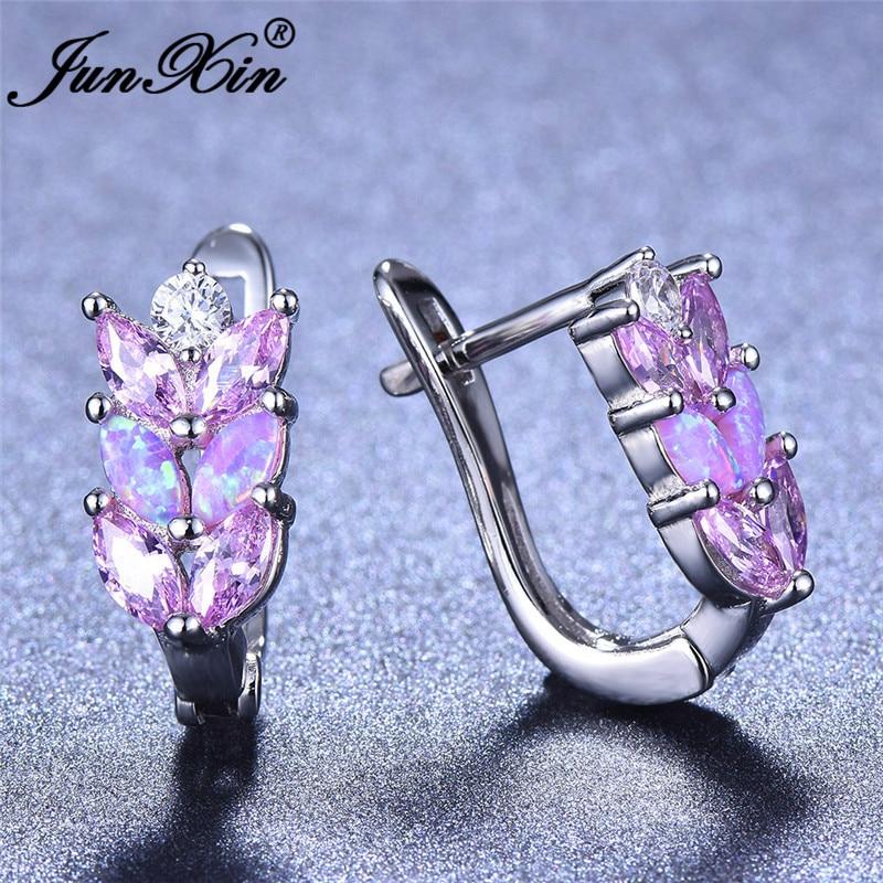Boho Female Crystal Leaf Hoop Earrings White Gold Purple Blue White Fire Opal Earrings For Women CZ Wedding Party Ear Jewelry