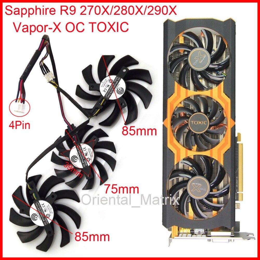 Prix pour 3 pcs/Lot POWER LOGIC PLD09210D12HH PLD08010S12HH DC12V Broches Pour Saphir R9 270X 280X 290X Vapor-x OC Graphique TOXIQUE Ventilateur de la carte