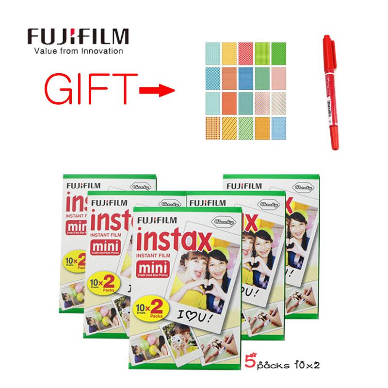 Prix pour 100 feuille film fuji papier photo fujifilm instax mini appareil photo instantané mini 8 7 s 25 50 s Cadeau 20 Photo Autocollants 1 pc Graffiti Stylo