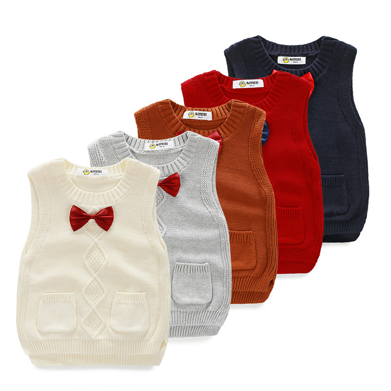 Child Knit Vest Boys Sweaters and Tops Spring Autumn Children's Waistcoats Toddler Knitwear Baby Boys Pullovers DQ572