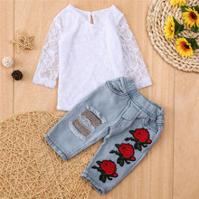 Get more info on the Newborn Baby Girls Clothes Winter Outfits Clothe Lace Flower Tops Shirt+Denim PantsJeans kit Top Dropshipping roupa infantil 9.3