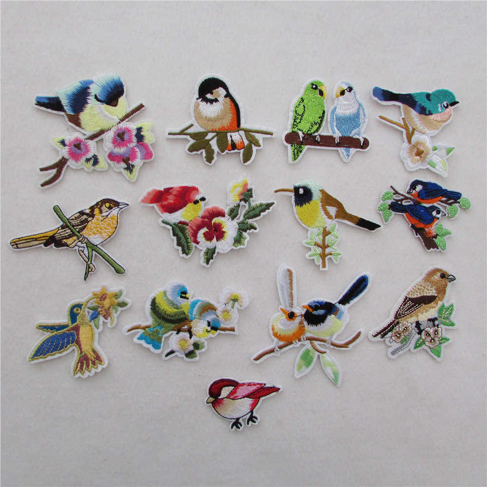 high quality 2016 year different style bird patter hot melt adhesive applique embroidery patches stripes DIY Clothing accessory